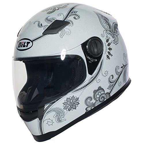 BILT Womens Gem Full-Face Motorcycle Helmet - MD WhiteSilver