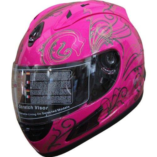 Full Face Motorcycle sports Bike Helmet Tatoo F64 Pink M