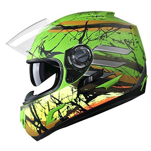 GLX Dual Visor Full Face Motorcycle Street Bike Helmet Gloss Yellow DOT Totem Graphic