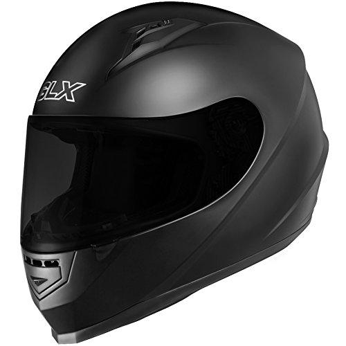 GLX Full Face Motorcycle Helmet Street Sport Bike DOT Approved  2 Visors M Matte Black