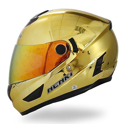 NENKI Helmets NK-852 Full Face Motorcycle Helmets Dot Approved With Dual Visors XLarge Chrome Gold