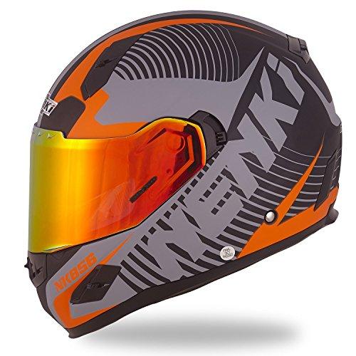 NENKI Helmets NK-856 Full Face Motorcycle Helmets DOT Approved With Iridium Red Visor and Inner Sun Shield Attached Outer Clear Visor L Matt Black Orange