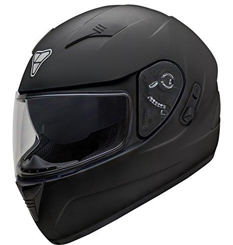 Pilot Motosport ST-17 Full-Face Motorcycle Helmet Matte Black Large