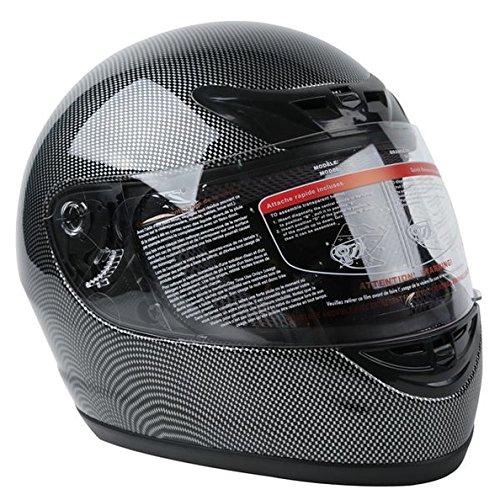 TCMT Adult Carbon Fiber Black Full Face Motorcycle Helmet DOT XL