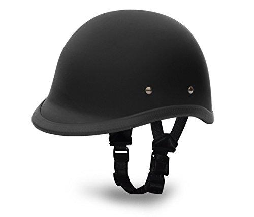Daytona Helmets Hawk Polo Style Half Shell Motorcycle Helmet Dull Black XLarge with ModoDbRiderz Black Padded Biker Riding Glasses Head Wrap and Draw String Bag