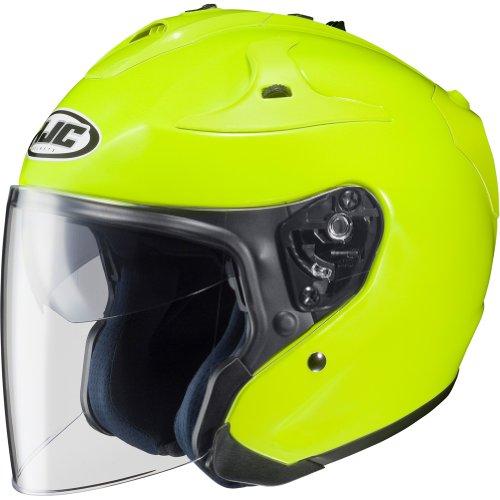 HJC Metallic FG-JET Half 12 Shell Motorcycle Helmet - Hi-Visibilty Yellow  Medium
