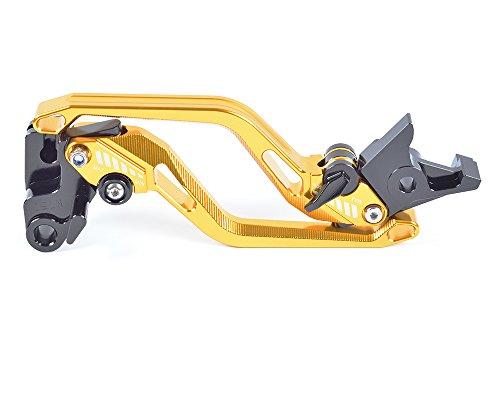 Tencasi Gold New Long Rhombus Hollow Adjustable Brake Clutch Lever for Kawasaki ZX6R  636 2007-2016 ZX10R 2006-2015 Z1000 2007-2016