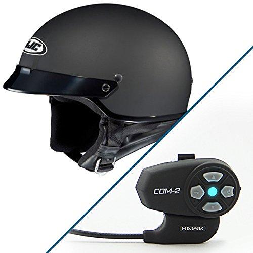 HJC CS-2N Matte Black Half Helmet with Hawk COM-2 Bluetooth Intercom Bundle - Medium w COM-2 Intercom
