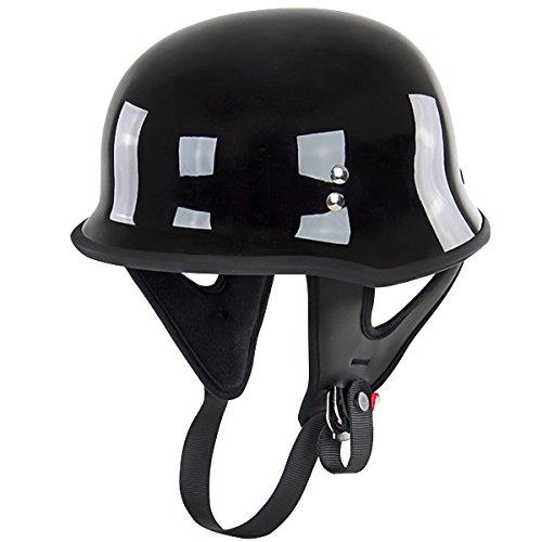 Outlaw T-75 German Style Black Half Helmet - Medium