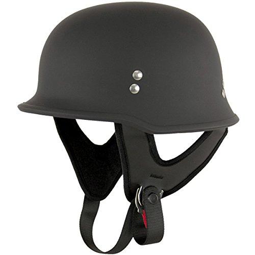 Outlaw T-75 German Style Flat Black Half Helmet - X-Large