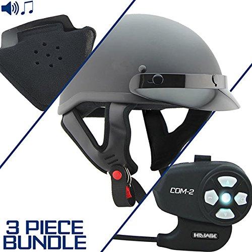 Outlaw T70 DOT Flat Black Half Helmet with Hawk COM-2 Bluetooth Intercom and Sp - Large w COM-2 Intercom
