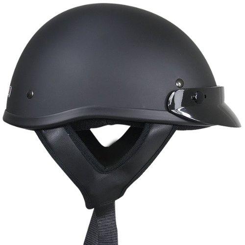 Outlaw T70 DOT Solid Flat Black Half Helmet - Large