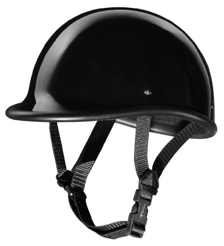Size L Motorcycle Biker Cruiser Novelty Gloss black Polo Half Helmet Low Profile Touring