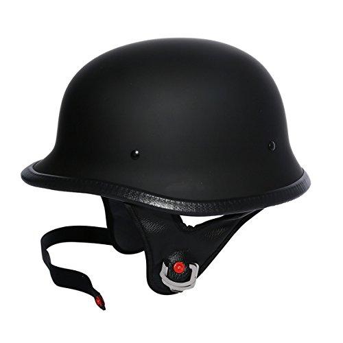 TCMT Dot Adult German Style Matte Black Half Helmet Motorcycle Chopper Cruiser Biker Helmet M