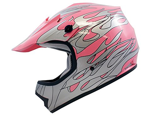 TMS Youth Kids Pink Flame Motocross Helmet Mx Atv Dirtbike Dot Medium