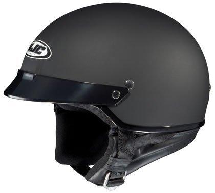 HJC CS-2N Matte Black Half Helmet with Hawk COM-2 Bluetooth Intercom Bundle - Large w COM-2 Intercom