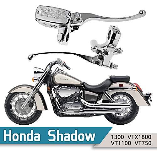 1 Handlebar 14mm Bore Motorcycle Left Clutch Lever Right Hydraulic Brake Master Cylinder Lever Fits Honda Kawasaki Suzuki Yamaha Chrome