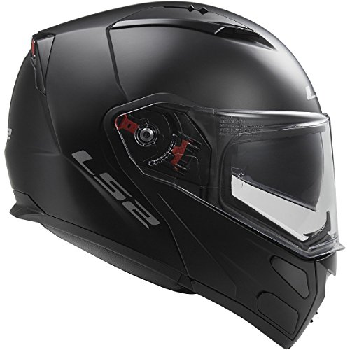 LS2 Helmets Metro Solid Modular Motorcycle Helmet with Sunshield Matte Black Medium