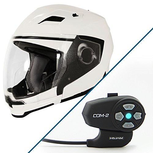 Hawk Evolution 2-IN-1 White Modular Helmet with Hawk COM-2 Bluetooth Intercom B - X-Large w COM-2 Intercom