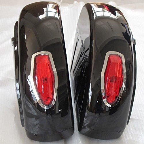 Motorcycle saddlebags Hard Saddle Bag Trunk w Light for Honda Shadow 600 750 VLX Valkyrie VT F VTX LN