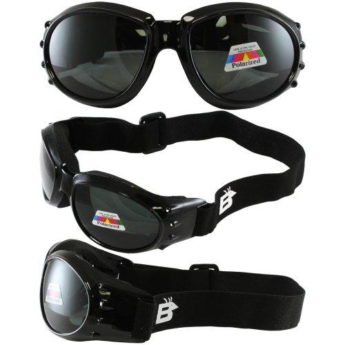 Birdz Eyewear Eagle Motorcycle Goggles Black FramePolarised Smoke Lens