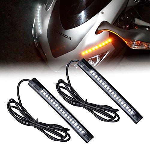 Racbox Motorcycle Daytime Running Light DRL Flexible LED Strip Light Turn Signals for Harley Davidson Honda Bike ATV UTV Pack of 2