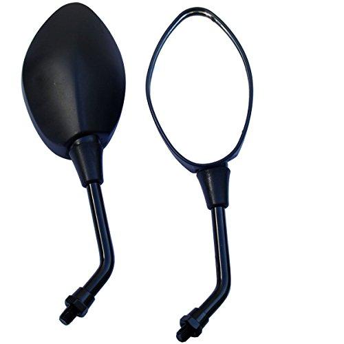 MotorToGo Black Oval Rear View Mirrors for 2016 Yamaha V Star 250 XV250