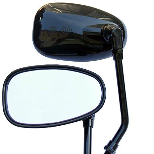 Black Oval Rear View Mirrors for 2003 Yamaha V Star 650 XVS650AT Silverado