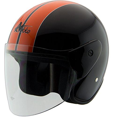 Nikko N318 BlackOrange Open Face Helmet - Small
