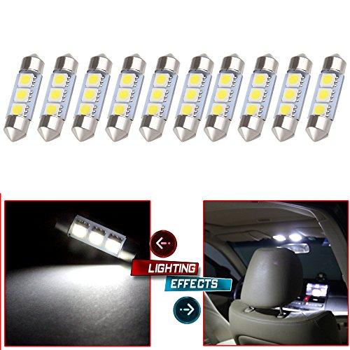 CCIYU 10x White 36MM 3SMD 5050 Bulbs Festoon LED Light Lamp DE3423 for 1998-2004 Audi A6 4B Dome TrunkCargo Area Light MirrorVanity Sunvisor Light Glove Box License Plate Light