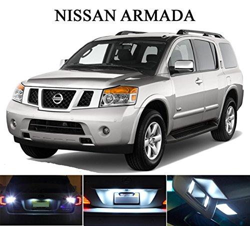 LED light for 2004- 2014 Nissan Armada Xenon White LED Package for License Plate  VanitySun Visor lights 6 Pieces