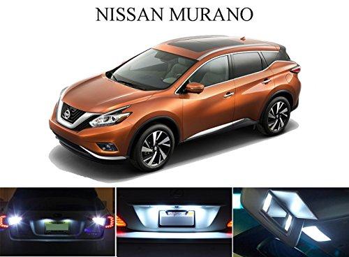 LED light for 2009 - 2015 Nissan Murano Xenon White LED Package for License Plate  VanitySun Visor lights 6 Pieces