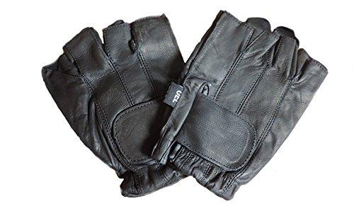 Leather Fingerless Black Motorcycle Gel Palm Gloves 3XL