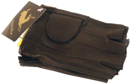 Napa Deerskin Leather Fingerless Gloves with Gel Pad Black Large