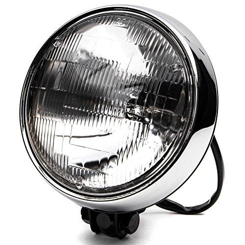 Krator 6 Black w Chrome Ring Motorcycle Headlight Bottom Mount Running Light HiLo for Harley Davidson Softail Fat Boy FLSTF