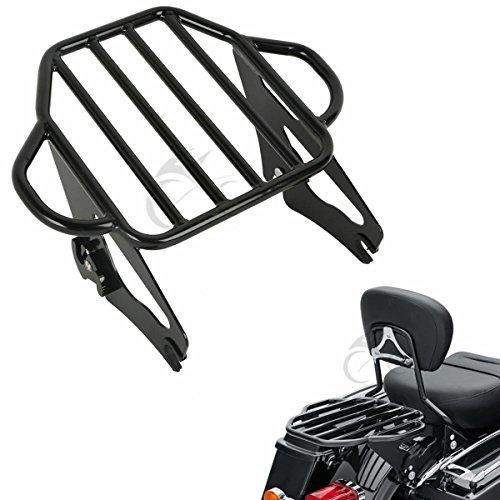 XFMT Gloss Black 2-Up Luggage Rack Mount For Harley Davidson Touring Models 2009-17
