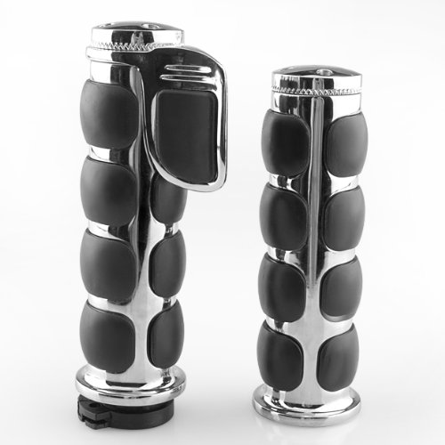 Lattest 1 Rubber Silver Motorcycle Bar Hand Grips for Harley Davidson Dyna Wide Glide Road King Chopper SUZUKI Volusia Intruder