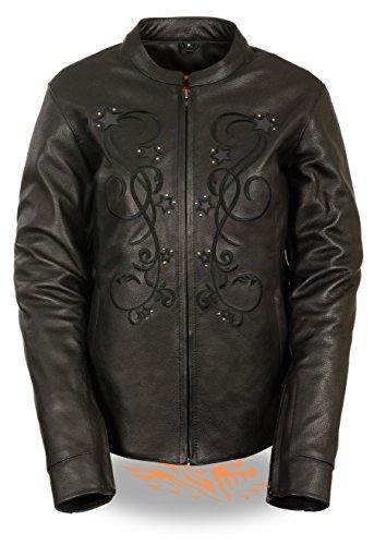 Milwaukee Leather Ladies Reflective Star Jacket W/ Stud Detailing & Embroidery - Purple, Pink & Black Versions