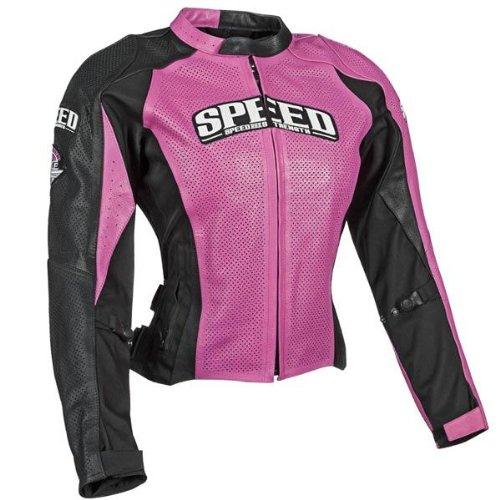 Speed & Strength Throttle Body Womens Leather Jacket Pink/black Sm