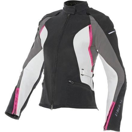 Dainese Arya Womens Motorcycle Jacket BlackDark Gull GrayFuchsia Pink 40 Euro2 USA