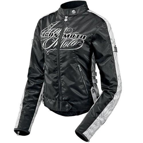 Icon Hella Street Angel Womens Motorcycle Jacket - Black - Large