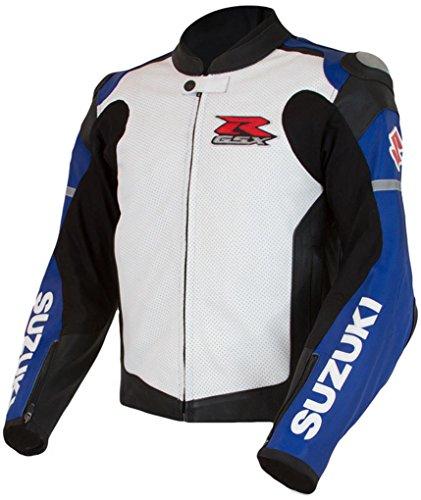Suzuki GSXR Gixxer GSX-R Leather Riding Jacket Blue White Large