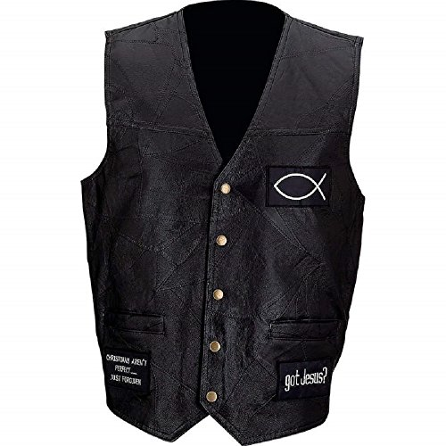 Diamond Plate™ Rock Design Genuine Buffalo Leather Biker Vest L