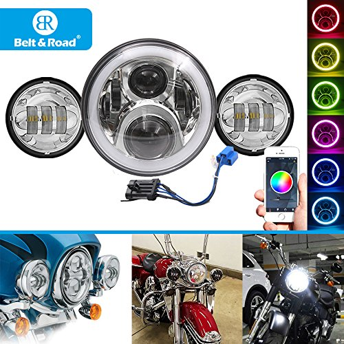 Belt&Road 7 Inch RGB Halo LED Headlight and 45 inch Chrome Passing light for 2014-2018 Harley Davidson Soft Tail MotorcycleHi-Lo Beam Daymaker Cellphone Bluetooth APP Controlled RGB Angel Eye