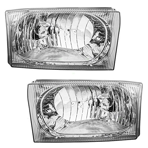 Driver and Passenger Composite Headlights Headlamps Replacement for Ford Pickup Truck SUV 2C3Z 13008 AB 2C3Z 13008 AA