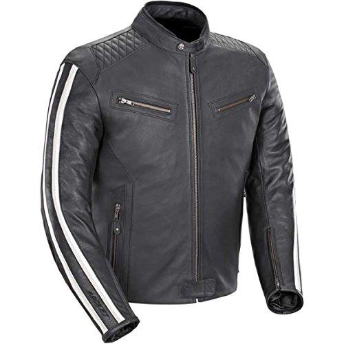 Joe Rocket Vintage Rocket Mens Leather Street Motorcycle Jacket - BlackWhite  Medium