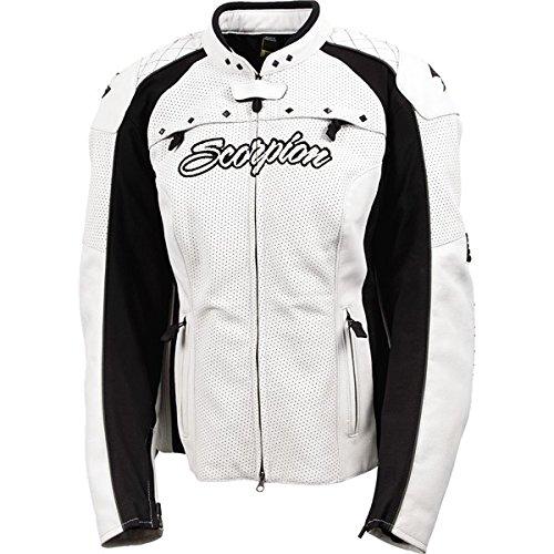 Scorpion Vixen Womens Leather Street Motorcycle Jacket - White  Small
