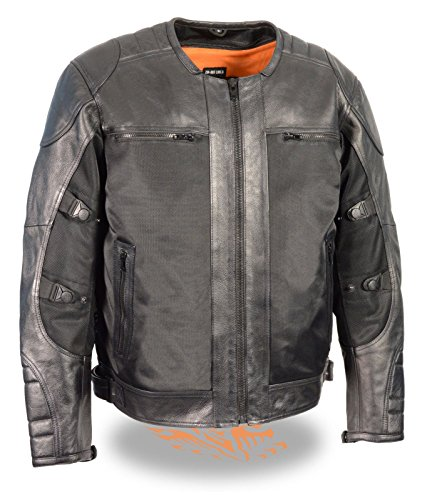 MENS STYLISH ANTIQUE GREY LEATHER BLACK TEXTILE RIDING JACKET W ARMORS 4XL Regular