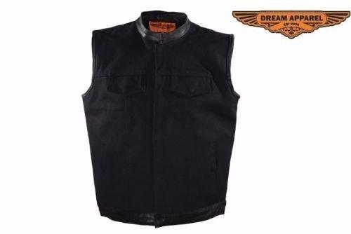 Black canvas  Textile SOA style Leather Trim Gun Pockets Motorcycle Vest 52