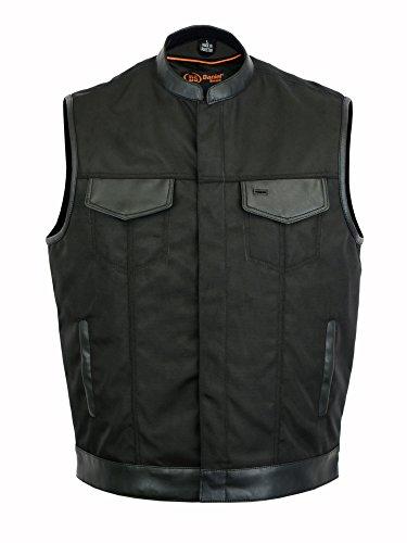 DS689 Concealed Snap Closure Textile Material Scoop Collar Hidden Zipper - Motorcycle Vest